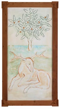 Resting Deer Under Apple Tree