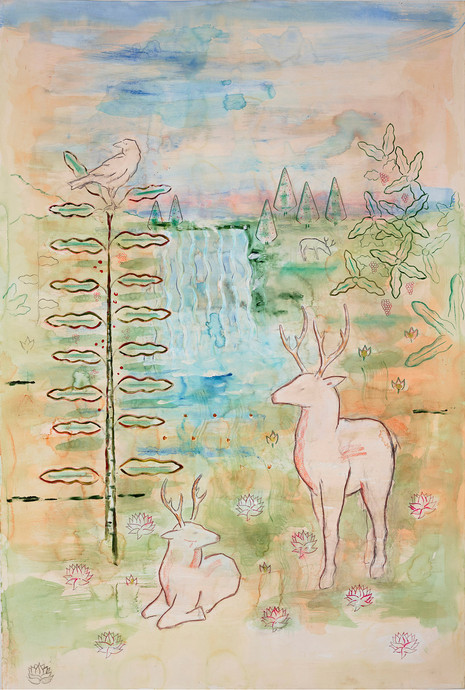 Deer with Waterfall
