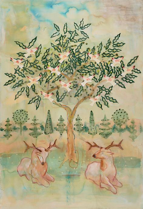 Two Deer, Tree & Birds