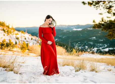 Holiday Maternity Photos at Mount Falcon Park with Erika and William
