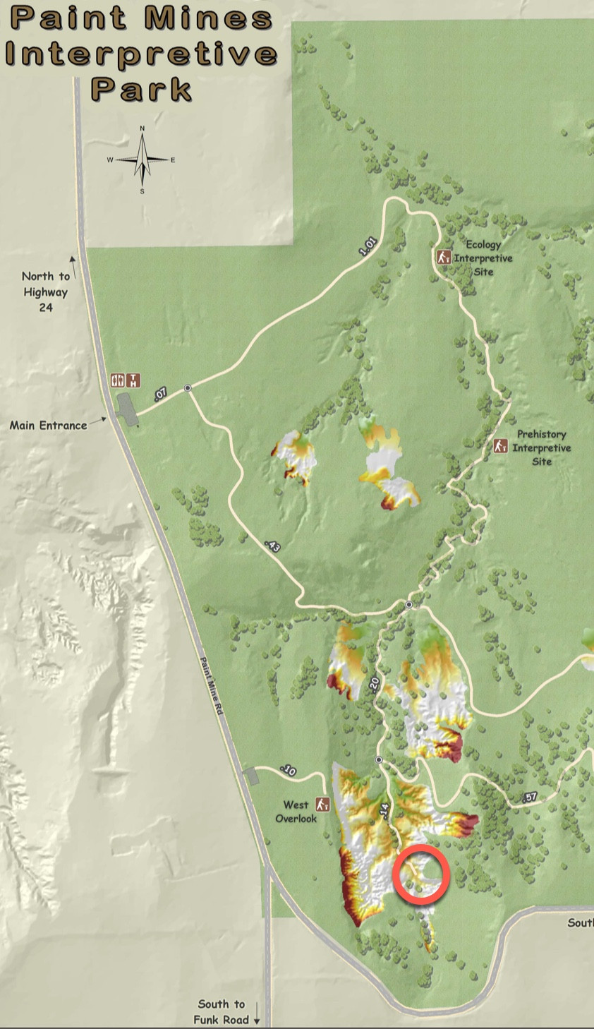Partial map of the Paint Mines park with elopement ceremony location marked