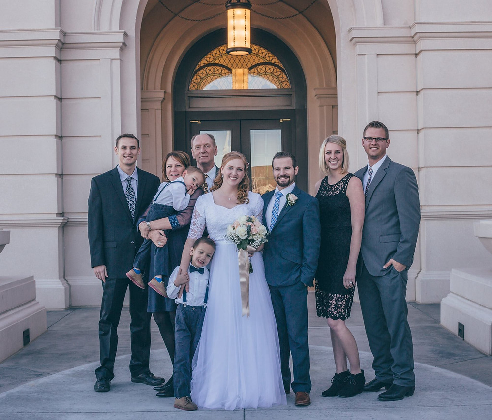Family Photos Outside of Mormon Wedding at LDS Temple in Fort Collins Colorado