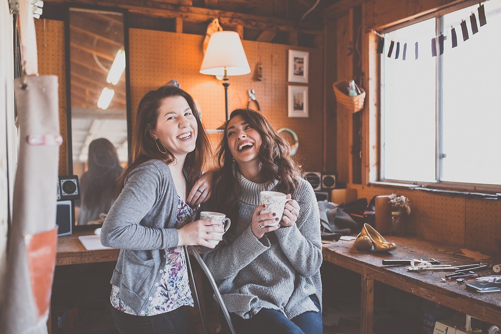 Amanda (Right) and I enjoying a cup of coffee together during our January photoshoot.