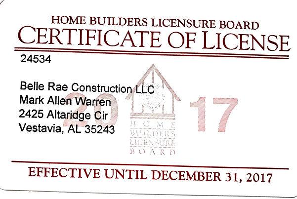 Belle Rae 2017 home builders license cop