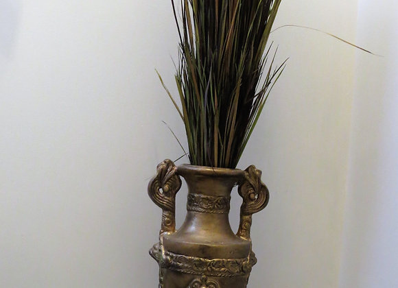 Large gold vase with leaves