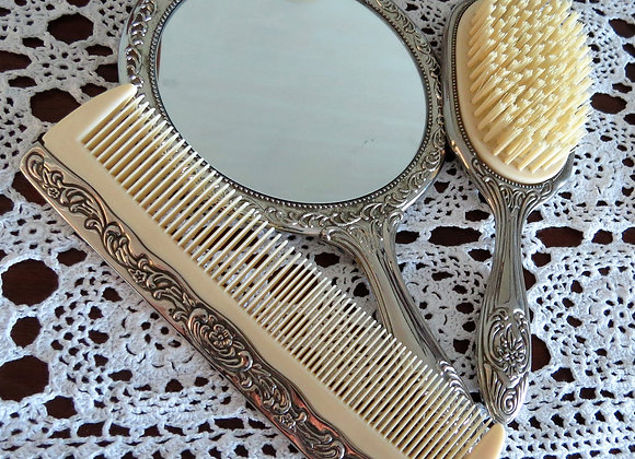 Silver Vintage Mirror, Comb and Brush Set