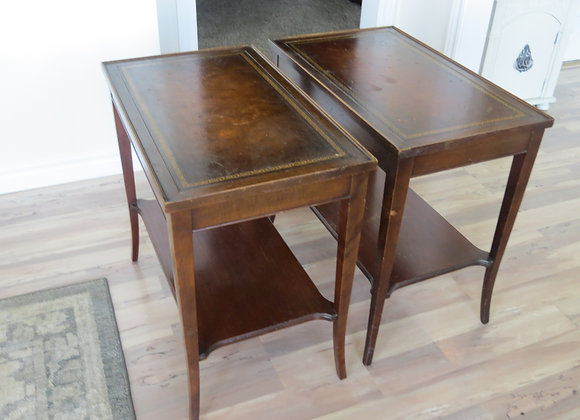 Leather topped wooden side tables (pr)