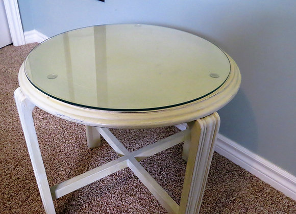 Round cream shabby chic table with glass top