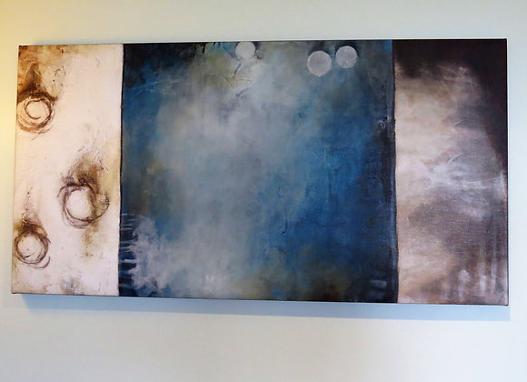 Large picture - teal and cream tones with patina effect