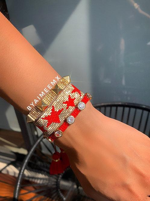 Set de estrellas dorado y rojo