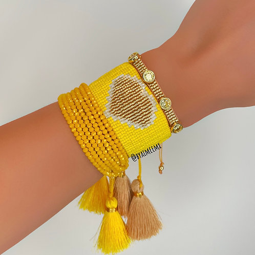Set corazón amarillo