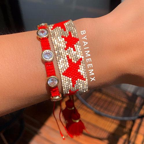 Set estrella dorada y roja (2 piezas)
