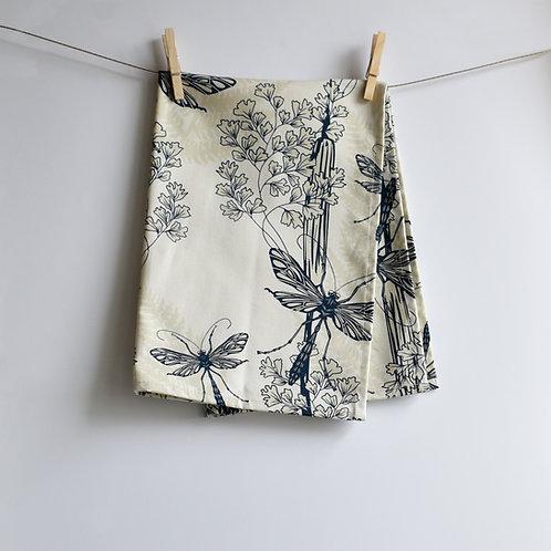 Dragonfly Wings Tea Towel - Almond