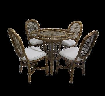 Conjunto de Mesa com Quatro Cadeiras de Rattan
