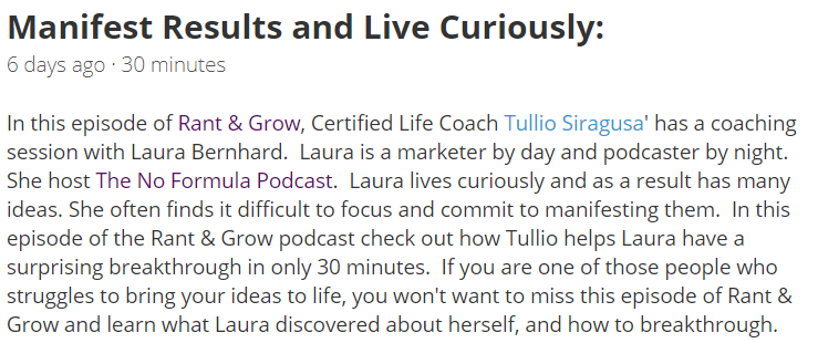 Rant & Grow Podcast Description
