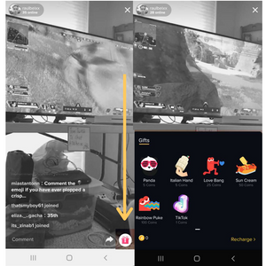 Virtual gifts in TikTok