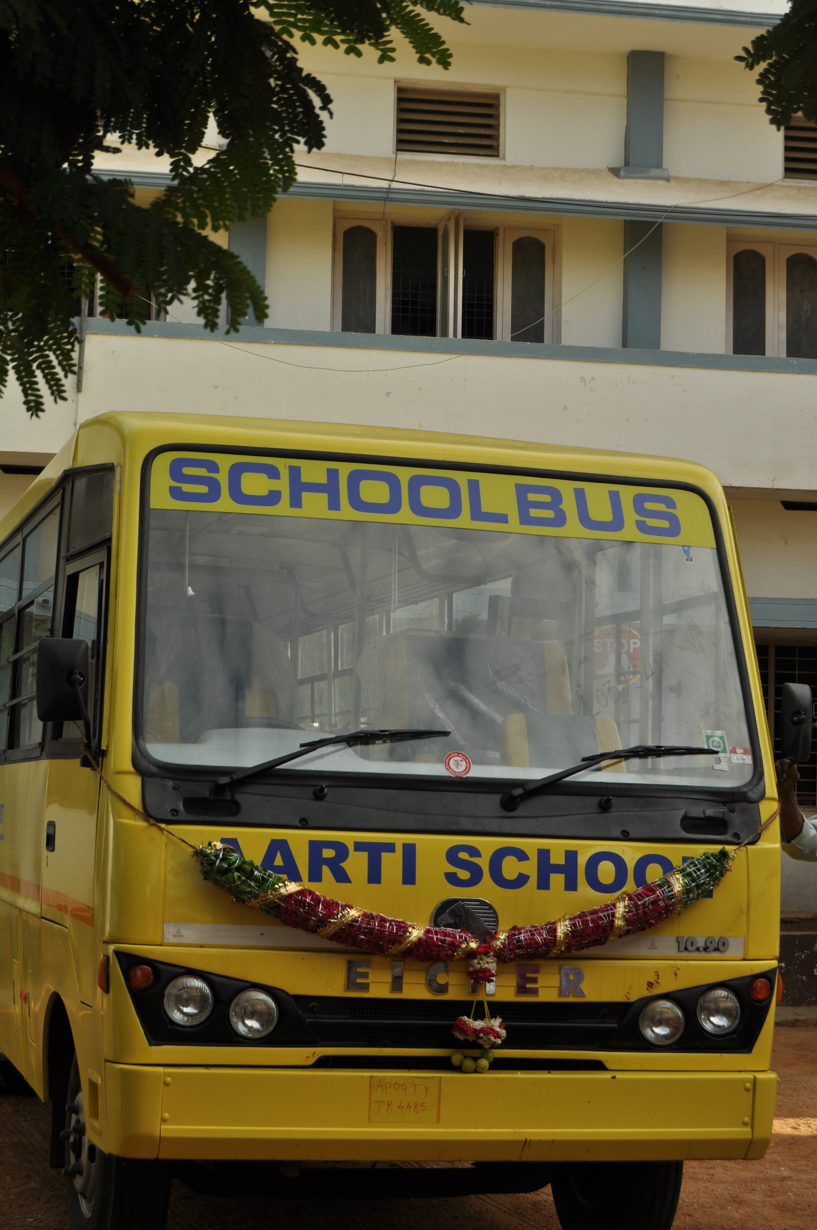 school bus with decoration