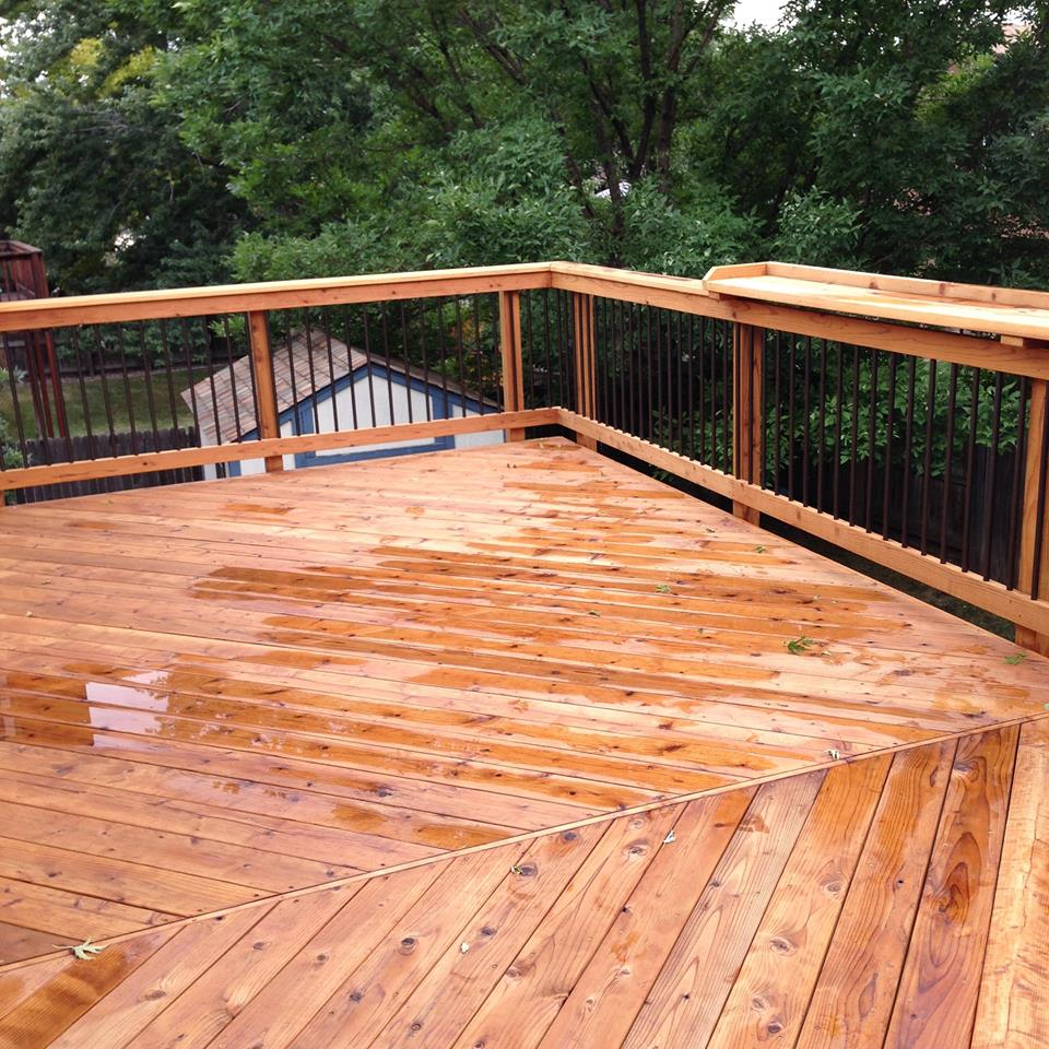 Custom Redwood Deck in Lakewood