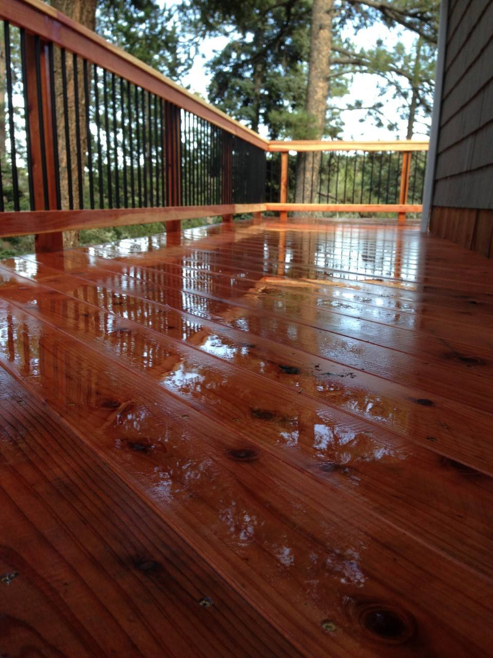 Custom Redwood Deck in Evergreen