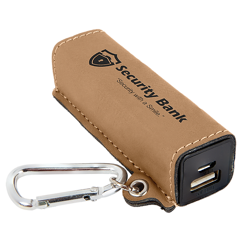 Leatherette Power Bank with USB Cord