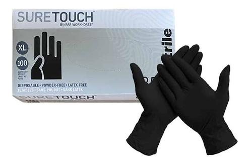 Suretouch Black Nitrile Gloves (100 pack) M/L/XL