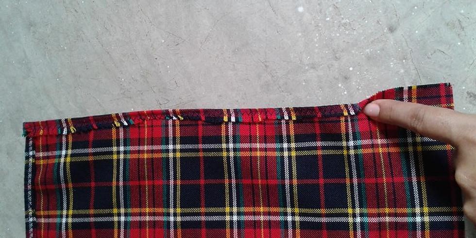 Reciclando mis uniformes escolares en bultos reusables.