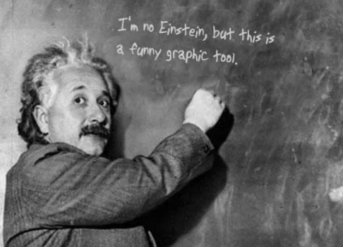 Funny Graphic tool to make Einstein write on his blackboard