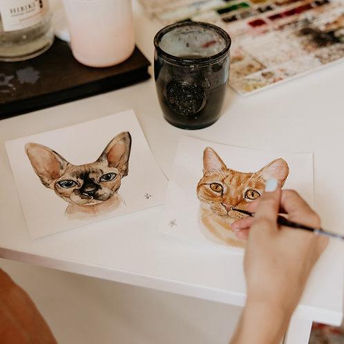 "6x6"" Custom Watercolor Pet Portrait"
