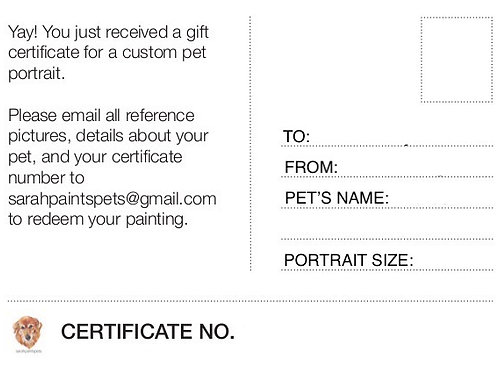 Quick Sketch Portrait Gift Certificate