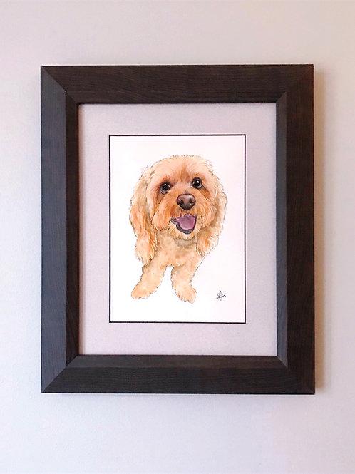 "6x8"" Custom Watercolor Pet Portrait"