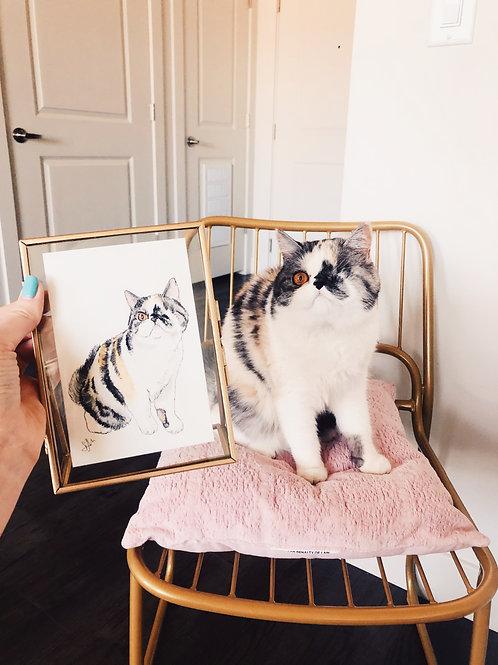"4x6"" Custom Watercolor Pet Portrait"