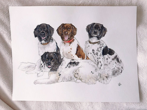 "12x16"" Three or More Pets Portrait"