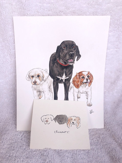 "8x10"" Three Pet Portrait"