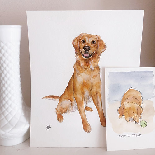 "8x10"" Custom Watercolor Pet Portrait"