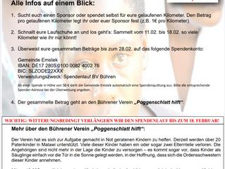 """1. Spendenlauf des BV Bühren zugunsten """"Poggenschlatt hilft"""""""
