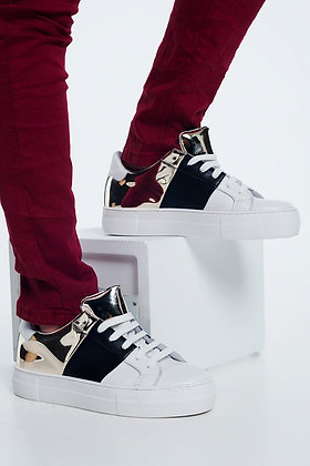 Chunky Sneakers in Black and  Gold