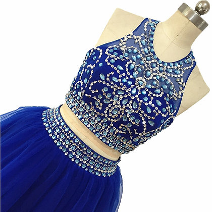 Blauwe halter Homecoming dress
