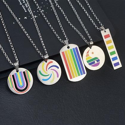 Rainbow Pride ketting met hanger in roestvrijstaal