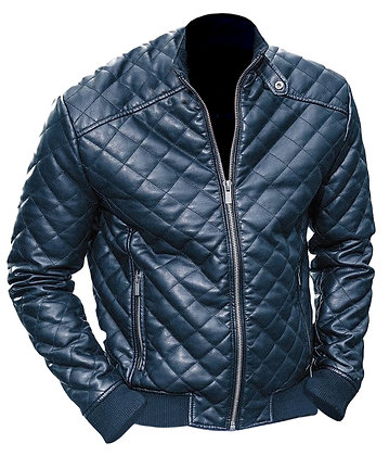 Black Diamond Quilted Leather Jacket