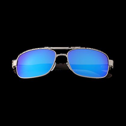 Ebbenhouten / Zilveren pilotenbril