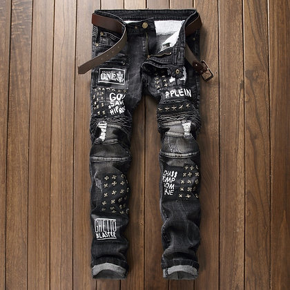 Patch ripped skinny jeans