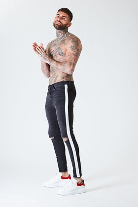 Ripped Skinny Jeans With White Stripe - Faded Black