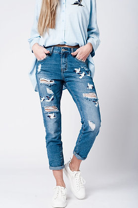 Blue Wash Jeans Bird Embroidery