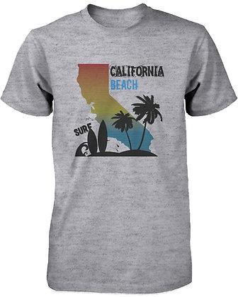 CA Map Gradation California Beach Surf Graphic T-Shirt