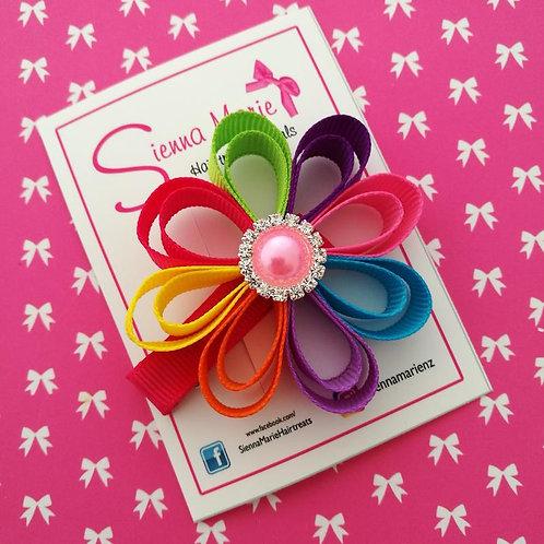 Small Rainbow Ribbon Flower Clip