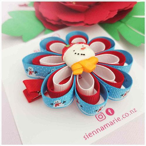 Snowman ribbon flower bow