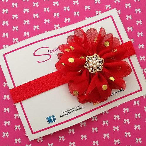 Red/Gold Spot Chiffon Flower Headband