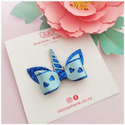 Mini Glitter Unicorn Bow - Blue