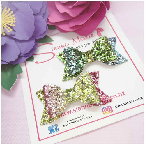Rainbow Glitter Mini Bows