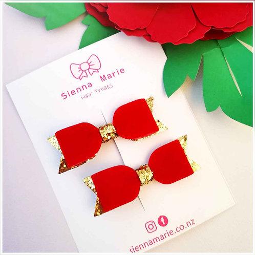 Velvet Christmas bow pair